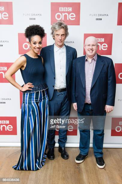 Pearl Mackie Peter Capaldi and Matt Lucas attend a photocall before the screening of the first episode of Series 10 of Doctor Who at the Ham Yard...