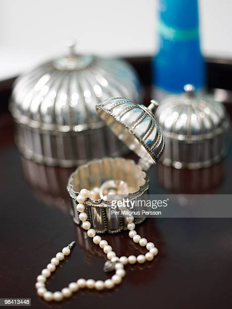 Pearl necklace in a jewel case Sweden.