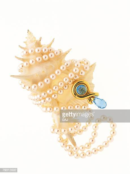 Pearl necklace with sapphire entwined around conch shell, high angle view, white background