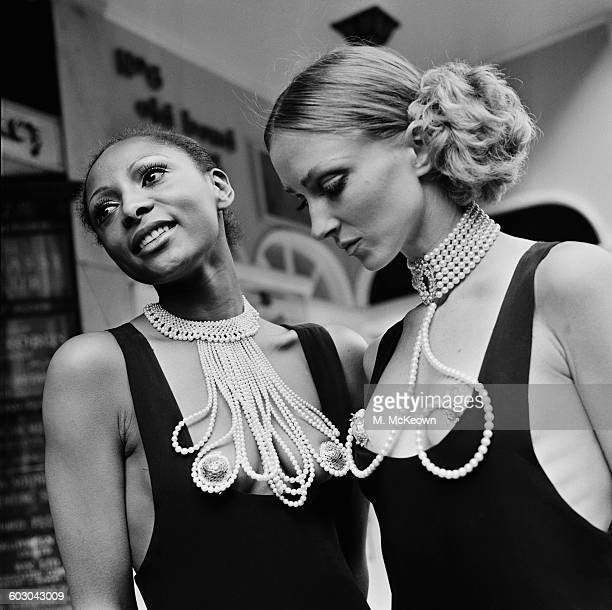Pearl necklaces incorporating beaten gold nipple covers UK 28th April 1970