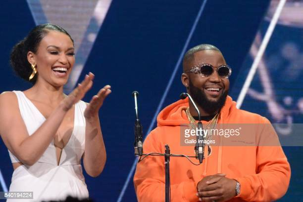 Pearl Thusi and Cassper Nyovest during the DStv Mzansi Viewers Choice Awards event at the Sandton Convention Centre on August 26 2017 in Sandton...
