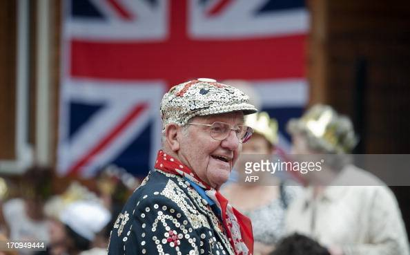 A Pearly King is seen during the visit of Birgitte Duchess of Gloucester to Old Ford East London on June 20 2013 during a Coronation Party organised...
