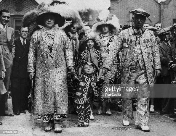 Pearly Kings and Queens attending a service at St Mary's church in Southwark to mark the retirement of Reverend C J Barker known as the Coster Bishop...