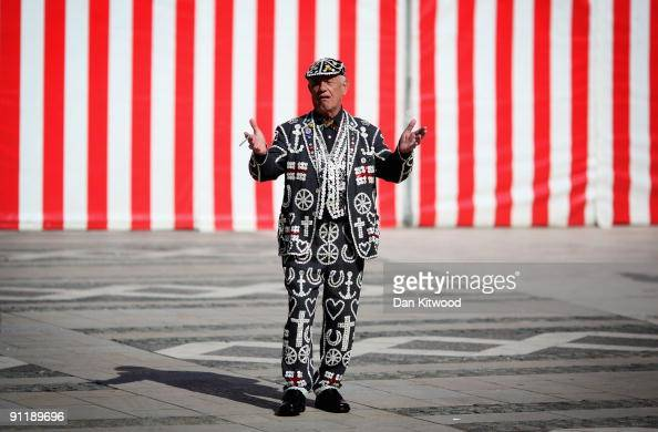 Pearly Kings and Queens gather to celebrate their annual Costermonger's Harvest Festival at the London Guildhall on September 27 2009 in London...