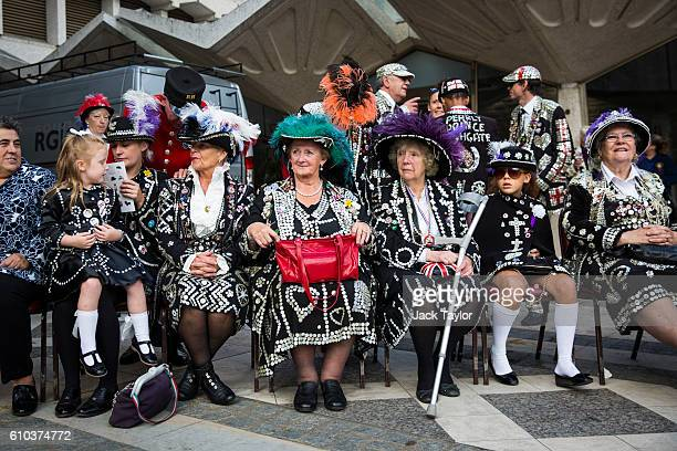 Pearly Queens and Princesses gather at Guildhall Yard for Harvest Festival on September 25 2016 in London England The Harvest Festival features...