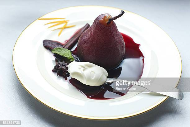 Pears poached in red wine with orange and star anise by chef Gordon Hamersley are pictured in Boston on Dec 3 2015