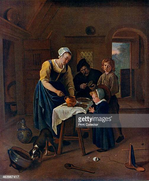 'A Peasant Family at Mealtime ' c1665 A colour print from Famous Paintings with an introduction by Gilbert Chesterton Cassell and Company