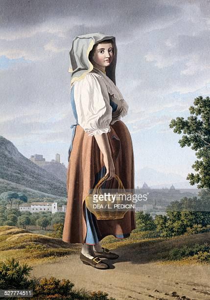 Peasant in the background of Maddaloni by Giovan Battista Lusieri watercolour on paper 32x23 cm Italy 19th century Naples Fondazione Maurizio E...