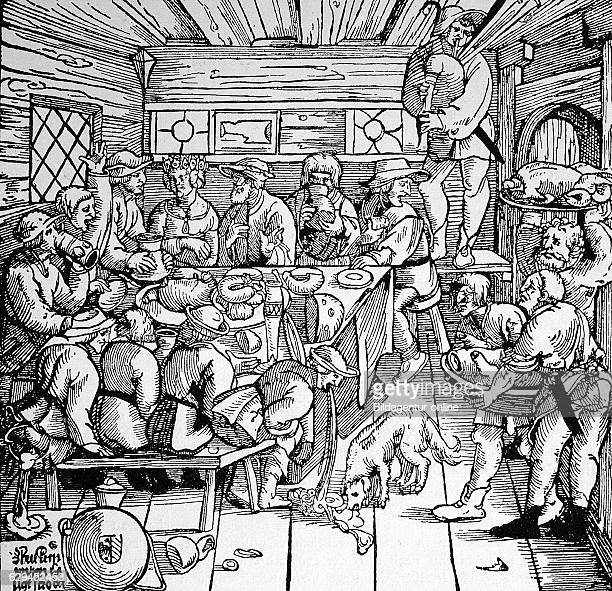 Peasant wedding german woodcut about 1770