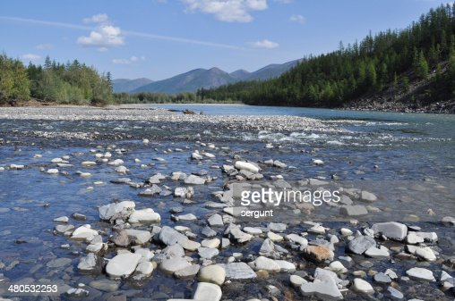 Pebble Bank of a mountain river. : Stock-Foto