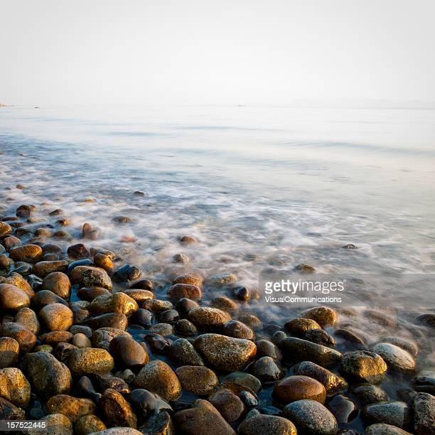 pebble rocks on beach.