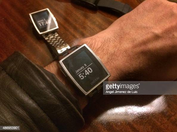 Pebble smartwatch on man's wrist