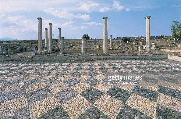 Pebblemosaic floor and colonnade of the agora Pella Greece Greek civilisation 3rd century BC