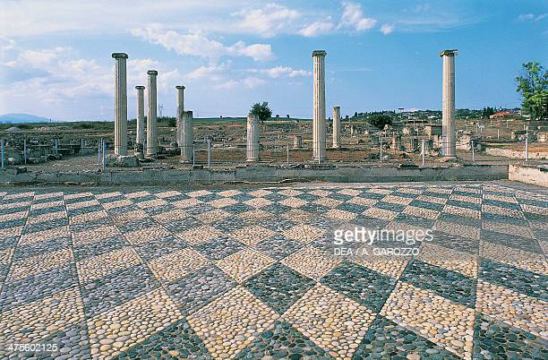 Pebblemosaic floor and colonnade of the agora Pella Greece Greek civilisation 3rd century BC