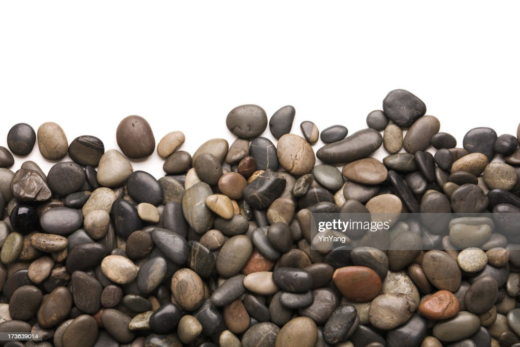 Pebbles Rock and Stone Frame Border on White Background : Stock Photo