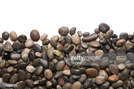 Pebbles Rock and Stone Frame Border on White Background