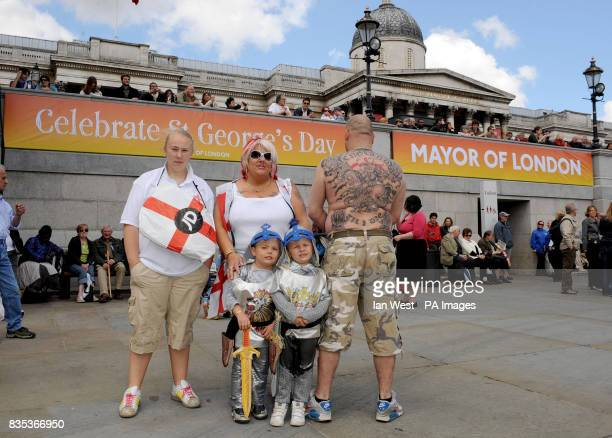 Pebbles Tracy and Gary Day seen with Roman and Blu Day from Carshalton attend the 'Contempoary Music English Roots' free music event to celebrate St...