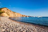 Pebbly beach of Ibiza. Balearic Islands. Spain