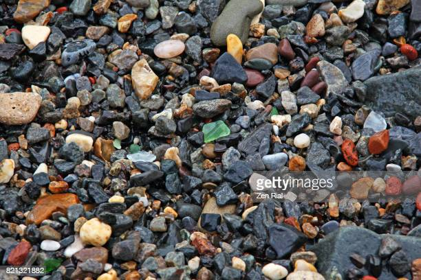Pebbly strand of the Hudson river, Jersey city, New Jersey, USA