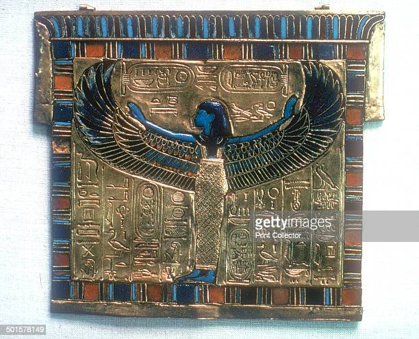 Pectoral from the tomb of Tutankhamun c14th century BC Tutankhamun's name is in two cartouches and a winged protective goddess Tutankhamun reigned...