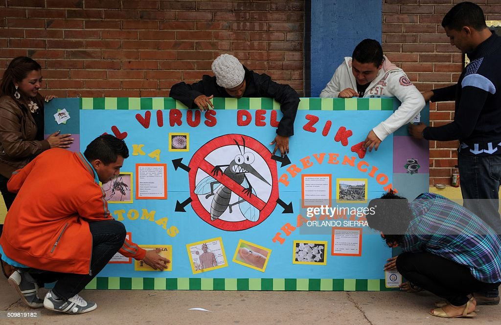 Pedagogy studnets of the National Autonomous University of Honduras (UNAH) make posters as they start a campaign to prevent Zika virus in Tegucigalpa on February 12, 2016. AFP PHOTO / ORLANDO SIERRA / AFP / ORLANDO SIERRA