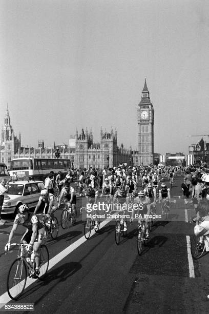 Pedal power on Westminster Bridge in London this morning as the first leg of the 1989 Milk Race gets underway with a 1215 mile ride to Bournemouth