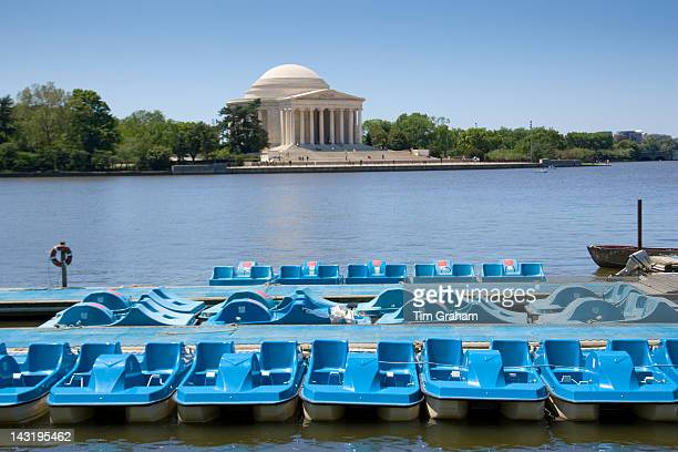 Pedalos on the Potomac River Tidal Basin by The Thomas Jefferson Memorial Washington DC USA