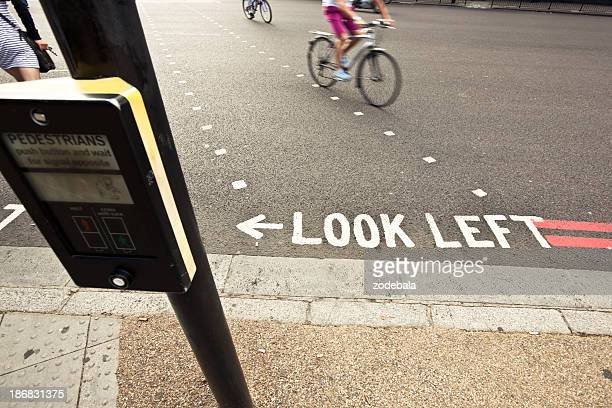 Pedestrian and bicycles crossing a road in London