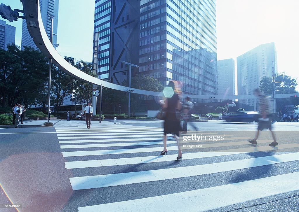Pedestrian crossing in city : Stock Photo