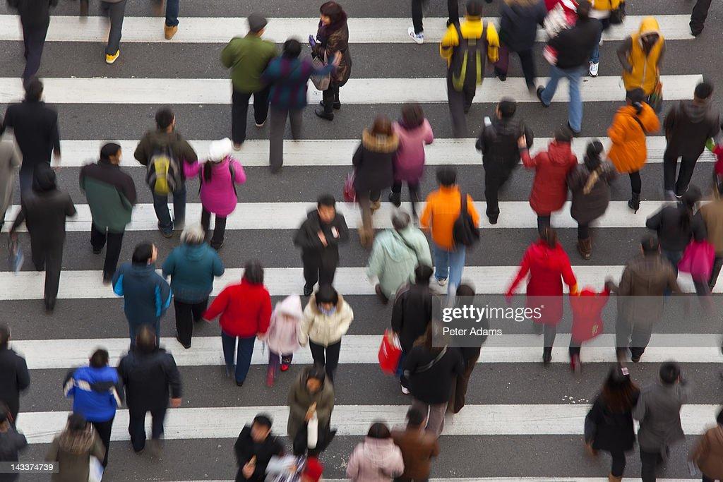 Pedestrian Crossing, Shanghai, China : Stock Photo