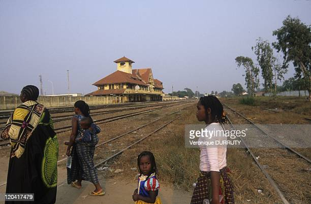 Pedestrian Crossing The Rails Railway Station In Pointe Noire Congo