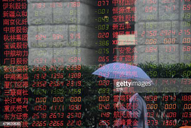 A pedestrian is reflected in a glass window in front of a screen displaying share prices at a security firm in Shanghai on July 6 2015 Shanghai...