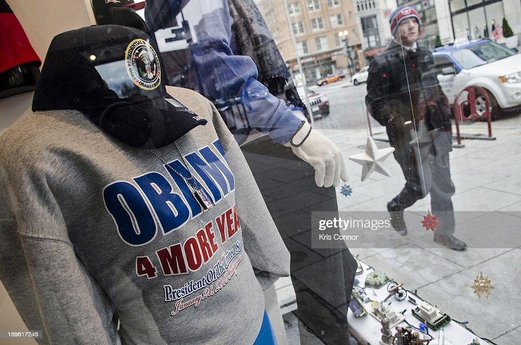 A pedestrian is seen outside of a souvenir shop in the Penn Quarter neighborhood on January 17, 2013 in Washington, DC.