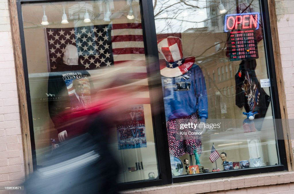 A pedestrian is seen outside of a souvenir shop in the Penn Quarter neighborhood on January 17, 2013 in Washington, DC.