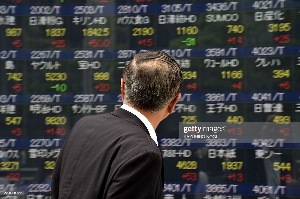A pedestrian looks at a quotation board displaying the Nikkei key index from the Tokyo Stock Exchange in Tokyo on May 25, 2016. Tokyo stocks surged at the start of trading May 25, extending a rally on global financial markets, while Sony jumped more than five percent after investors shrugged off a weak profit forecast. / AFP / KAZUHIRO
