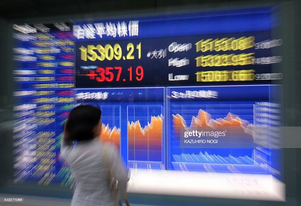 A pedestrian looks at a share prices board showing numbers from the Tokyo Stock Exchange in Tokyo on June 27, 2016. Tokyo stocks jumped more than two percent on June 27, rebounding from a rout that wiped more than 2 trillion US dollar off global financial markets in response to Britain's shock vote to quit the European Union. / AFP / KAZUHIRO