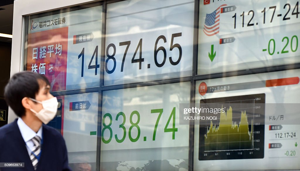 A pedestrian looks at a share prices board showing numbers of the Tokyo Stock Exchange in Tokyo on February 12, 2016. The benchmark Nikkei 225 index at the Tokyo Stock Exchange plunged 5.34 percent, or 838.74 points, to 14,874.65 at the lunch break, after a one-day trading holiday. AFP PHOTO / KAZUHIRO NOGI / AFP / KAZUHIRO NOGI