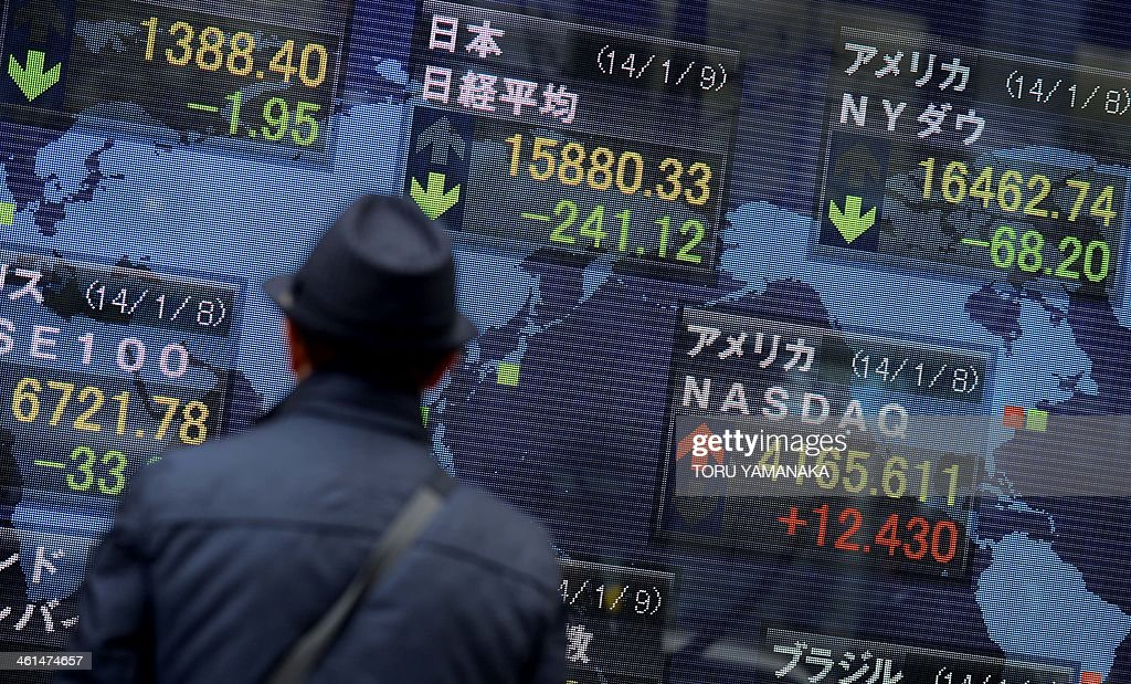 A pedestrian looks at an electric quotation board displaying key indexes of world main stock exchanges in front of a securities company in Tokyo on January 9, 2014. Tokyo stocks closed down 1.50 percent on January 9 on continued profit-taking with a weaker yen failing to lift the market into positive territory. AFP PHOTO/Toru YAMANAKA