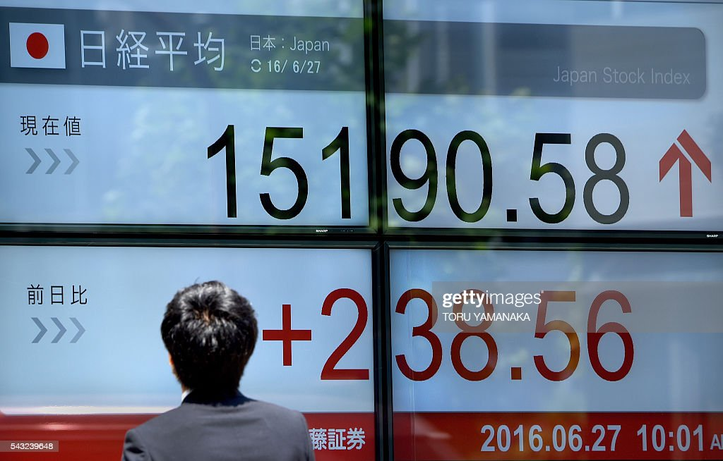 A pedestrian looks at an electric quotation board flashing the Nikkei key index of the Tokyo Stock Exchange (TSE) in front of a securities company in Tokyo on June 27, 2016. Tokyo stocks rebounded from a rout that wiped more than $2 trillion off global financial markets in response to Britain's shock vote to quit the European Union. / AFP / TORU