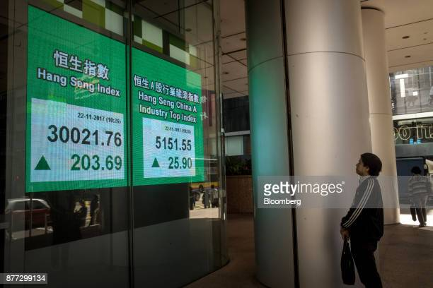 A pedestrian looks at an electronic screen displaying the Hang Seng Index left and the Hang Seng China A Industry Top Index in Hong Kong China on...