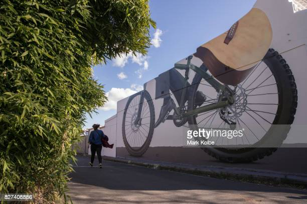 A pedestrian passes a wall mural by artist Sid Tapia in a laneway in Stanmore on August 7 2017 Sydney Australia Perfect Match is an Inner West...