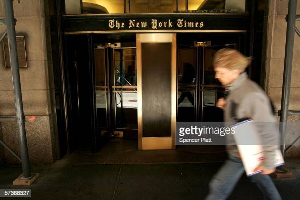 A pedestrian passes the New York Times building April 19 2006 in New York City Registering their dissatisfaction with the company's performance 28%...