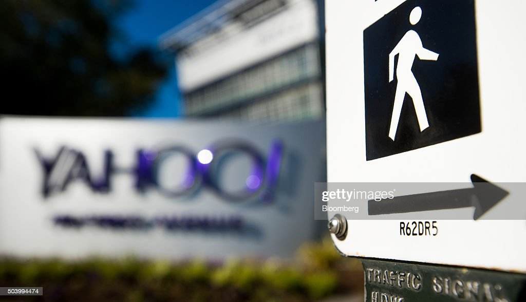 A pedestrian street crossing sign stands at Yahoo Inc headquarters in Sunnyvale California US on Thursday Jan 7 2016 Yahoo Inc is planning to...