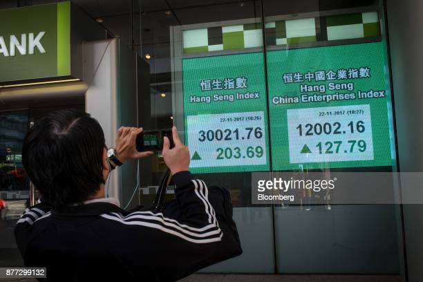 A pedestrian takes a photograph of an electronic screen displaying the Hang Seng Index left and the Hang Seng China Enterprises Index in Hong Kong...