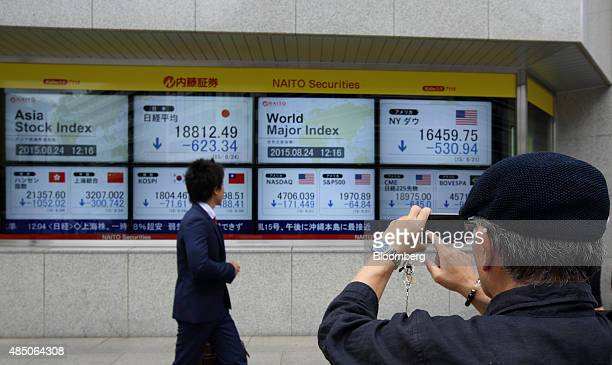 A pedestrian takes a photograph of an electronic stock board using a smartphone outside a securities firm in Tokyo Japan on Monday Aug 24 2015...