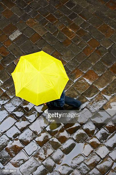 Pedestrian Walking With Umbrella
