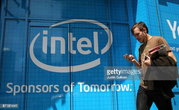 A pedestrian walks by an advertisement for chipmaker Intel May 13 2009 in San Francisco California The European Union has fined Intel Corporation the...