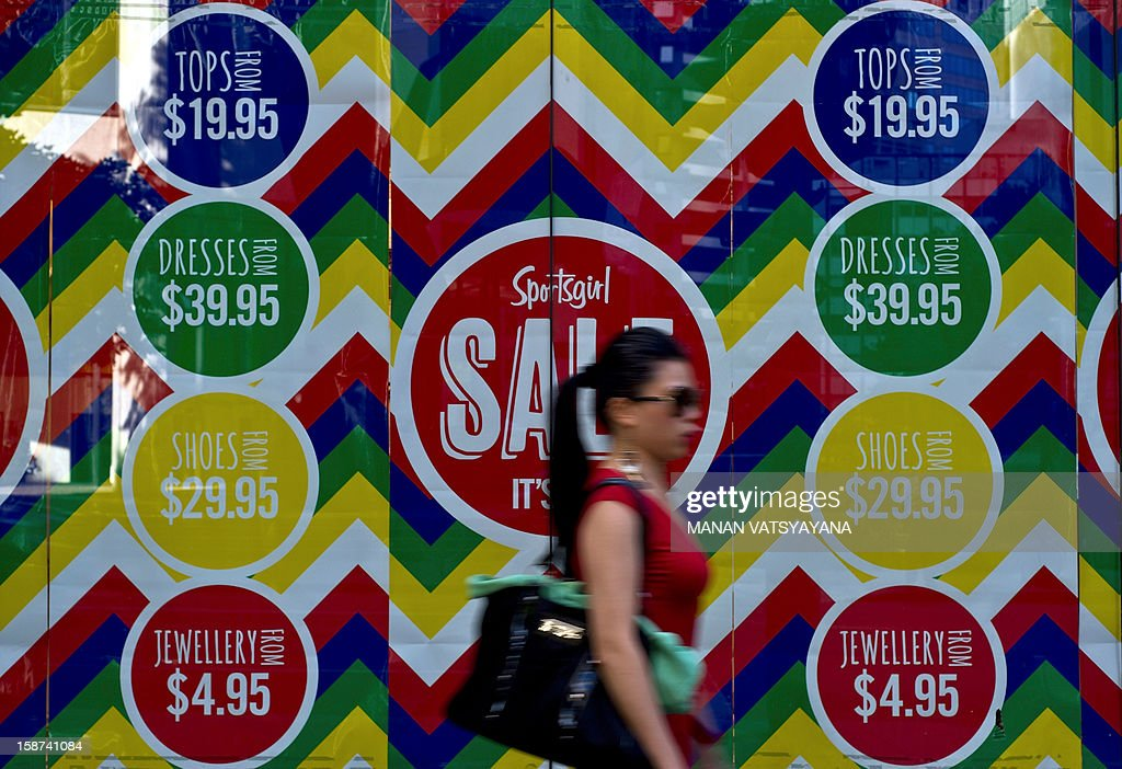 A pedestrian walks past a sales promotion advertisement displayed on a retail store window in Sydney on December 27, 2012. Shoppers are flocking the retail stores across the city to taker advantage of ongoing post Christmas sales and discount promotions. AFP PHOTO/MANAN VATSYAYANA
