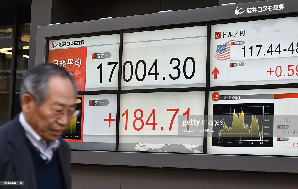 A pedestrian walks past a share prices board showing numbers of the Tokyo Stock Exchange (L) and a foreign exchange rate board against US dollar (R) in Tokyo on February 8, 2016. Tokyo stocks cast off early losses to finish higher February 8, buoyed by a weaker yen and upbeat economic data. AFP PHOTO / KAZUHIRO NOGI / AFP / KAZUHIRO NOGI