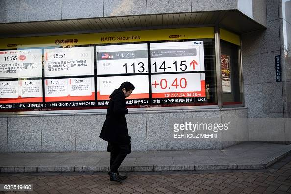 A Pedestrian walks past an electric quotation board displaying the current exchange rate of the yen against the US dollar in Tokyo on January 24 2017...